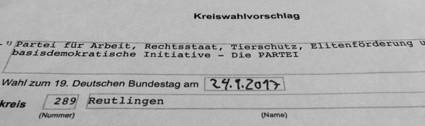 Kreiswahlvorschlag Für Die Bundestagswahl 2017 Eingereicht!